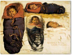 "Joseph Henry Sharp, ""Blanket Bull, Crow Papoose,"" 1908"