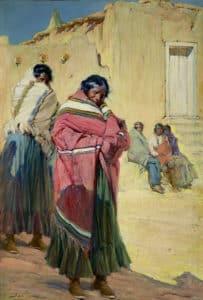 "Indians Outside Taos Pueblo, Gerald Cassidy, ca 1912-34, 44x29.5"""